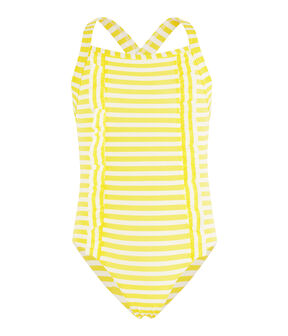 Stripy one-piece swimsuit with ruffle details. Eblouis yellow / Marshmallow white