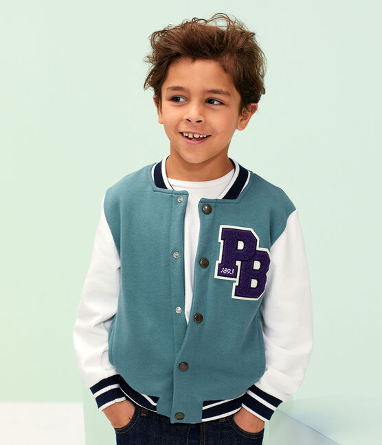 Boys' Baseball Jacket Brut blue / Marshmallow white