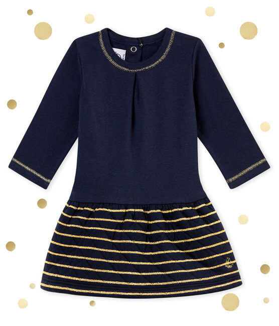 Baby girl's sailor stripe dual fabric dress Smoking blue / Dore yellow