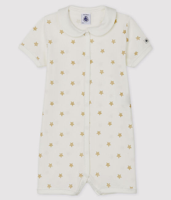 Babies' Rib Knit Playsuit Marshmallow white / Or yellow