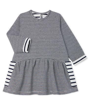 Baby Girls' Long-Sleeved Striped Dress Smoking blue / Marshmallow white