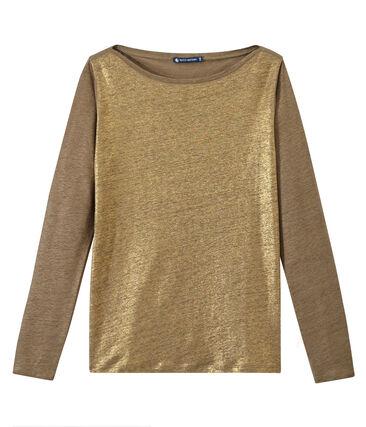 Women's iridescent linen long-sleeve tee Shitake brown / Or yellow