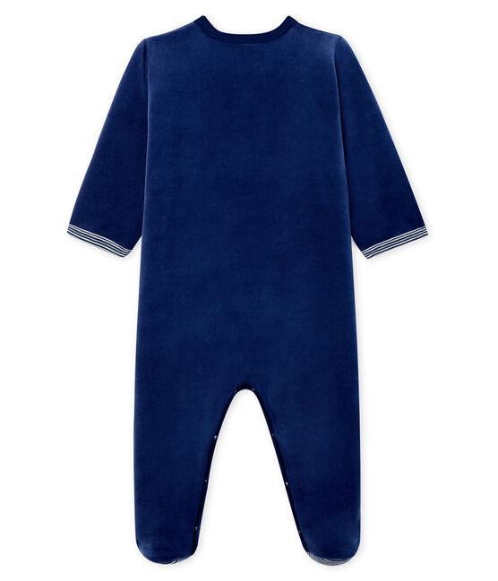 Baby Boys' Velour Sleepsuit Medieval blue