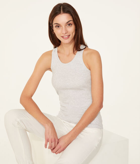 Women's sleeveless top Poussiere Chine grey