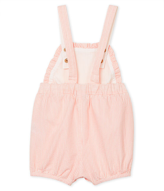 Baby Girls' Striped Short Dungarees Rosako pink / Marshmallow white