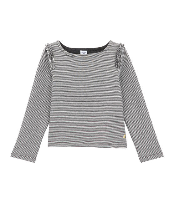 Girl's breton top City black / Marshmallow white
