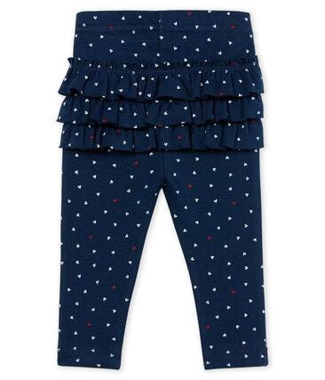 Baby girls' printed leggings Haddock blue / Multico white