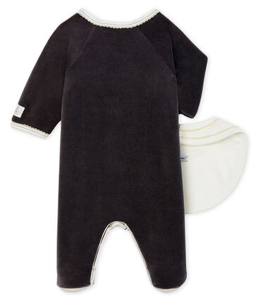 Babies' Velour Sleepsuit and Bib Set . set
