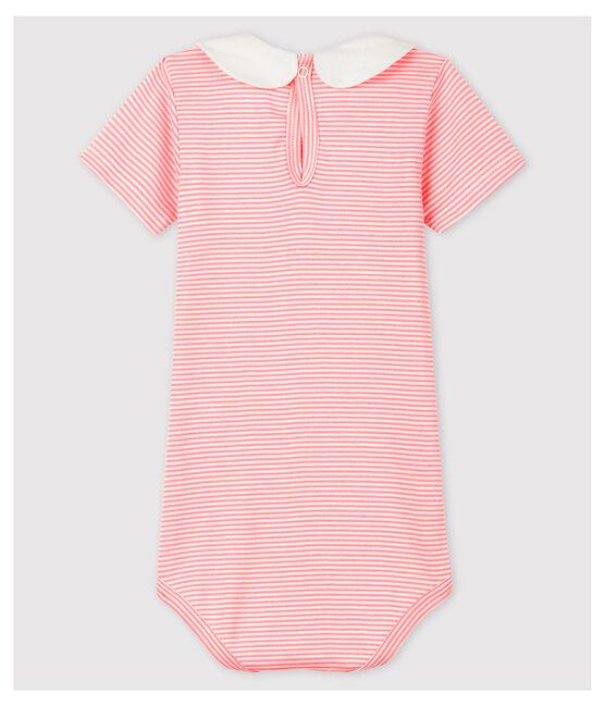 Baby Girls' Cotton Bodysuit with Peter Pan Collar Gretel pink / Marshmallow white