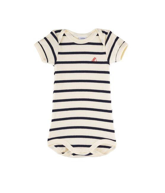 Baby Girls' Short-Sleeved Bodysuit Coquille beige / Smoking blue