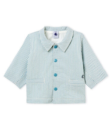 Baby boys' striped jacket Fontaine blue / Marshmallow white