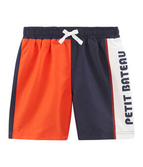 Boys' colour block Beach Shorts Touareg blue / Spicy orange