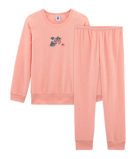 Girls' Pyjamas in Brushed towelling Rosako pink