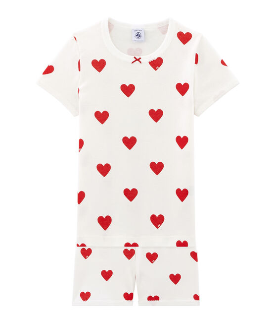 Girls' cropped ribbed pyjamas Marshmallow white / Terkuit red