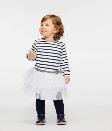 Baby Girls' Long-Sleeved Striped Dress Marshmallow white / Smoking blue