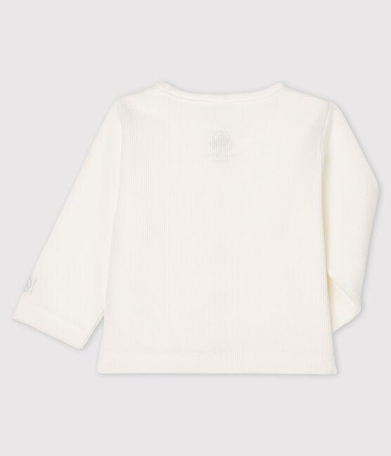 Baby cardigan in cotton rib Marshmallow white