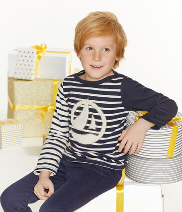 Boys' Sailor Top Marshmallow white / Smoking blue