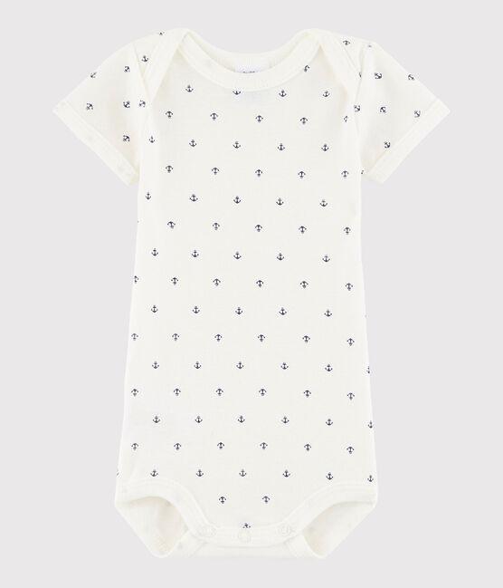 Baby Boys' Short-Sleeved Bodysuit Lait white / Medieval blue