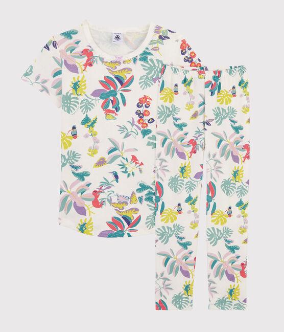 Girls' Jungle Print Ribbed Knit Pyjamas Marshmallow white / Multico white