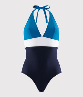 Women's Recycled 1-Piece Swimsuit Smoking blue / Multico white