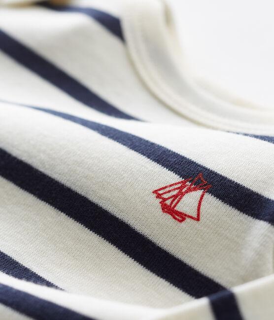 Unisex Babies' Ribbed Long-Legged Bodysuit Coquille beige / Smoking blue