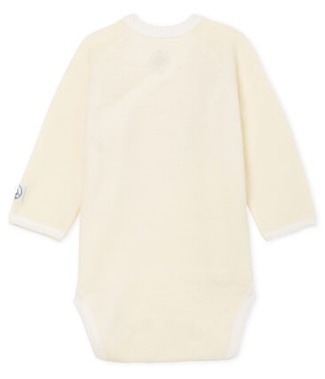 Newborn babies' long-sleeved cotton and wool bodysuit Marshmallow white