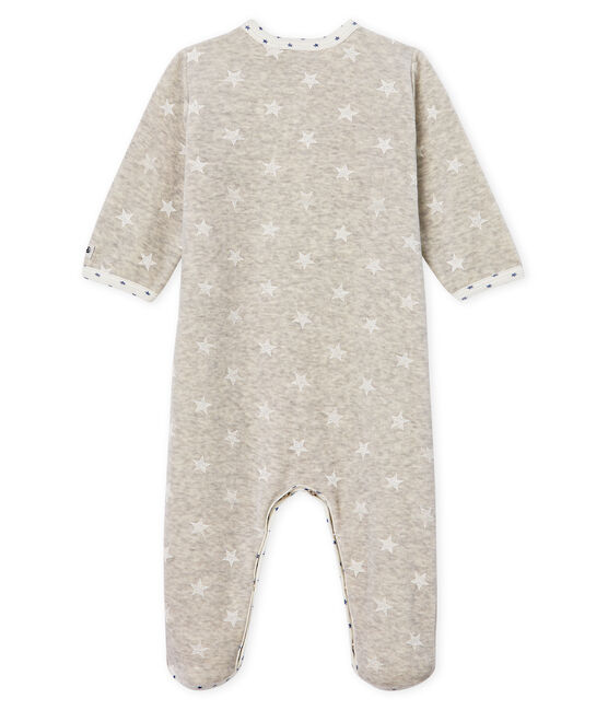 Baby Boys' Velour Sleepsuit Beluga grey / Marshmallow white