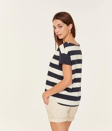 Women's short-sleeved graphic t-shirt Smoking blue / Marshmallow white