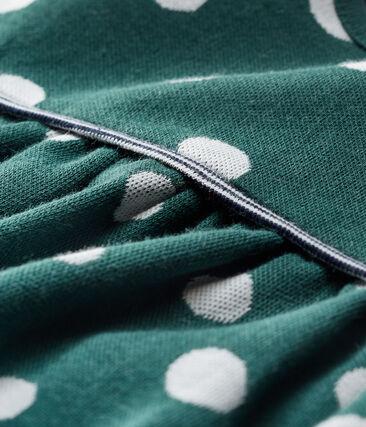 Baby Girls' Long-Sleeved Spotted Dress Sousbois green / Marshmallow white