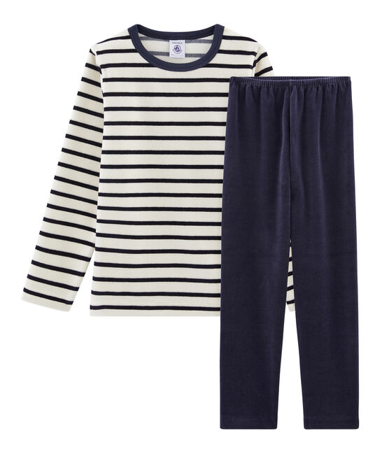 Boys' Velour Pyjamas Smoking blue / Coquille beige