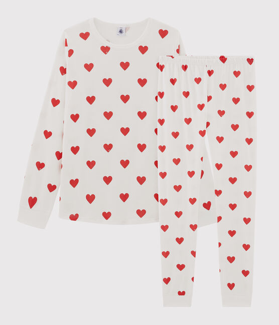 Children's hearts print ribbed pyjamas Marshmallow white / Terkuit red
