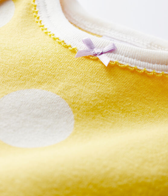 Baby Ribbed Buttonless Sleepsuit Ble yellow / Ecume white