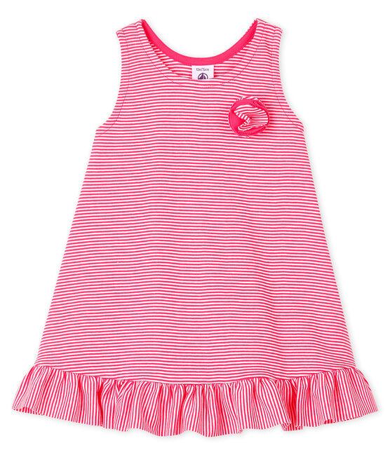 Baby girl's sleeveless knit dress Geisha pink / Marshmallow white