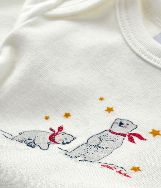 Babies' long-sleeved bodysuit Lait white / Smoking blue