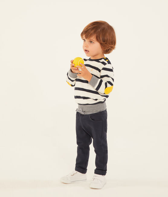 Baby boys' plain jersey trousers Smoking blue