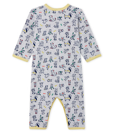 Baby Boys' Footless Ribbed Sleepsuit Poussiere grey / Multico white