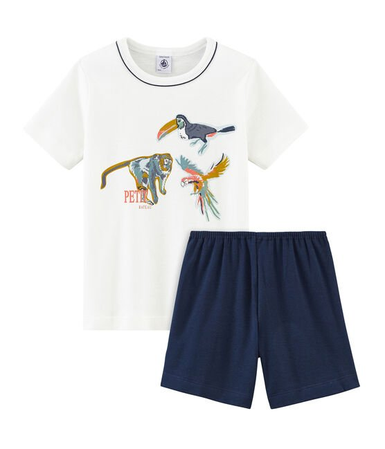 Boys' short Pyjamas Haddock blue / Marshmallow white