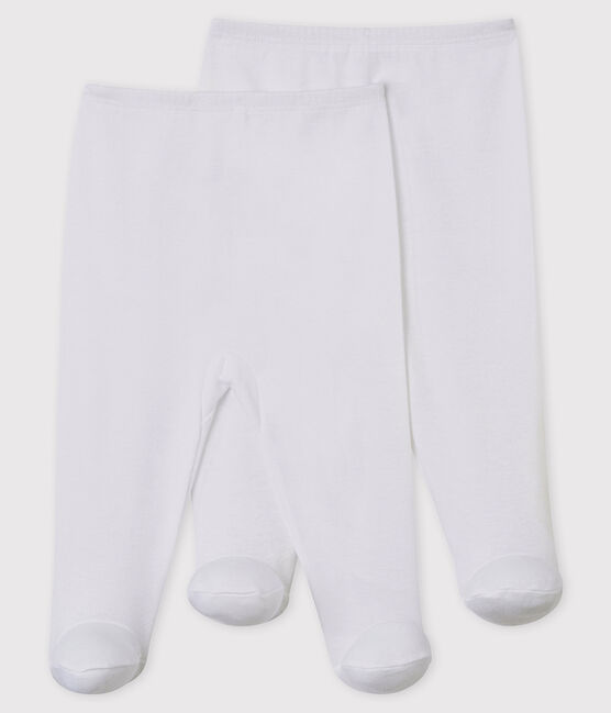 Babies' White Trousers with Feet - 2-Piece Set Ecume white