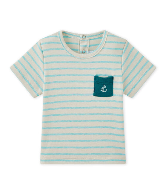 Baby boy's striped short-sleeved T-shirt Feta white / Adventure green