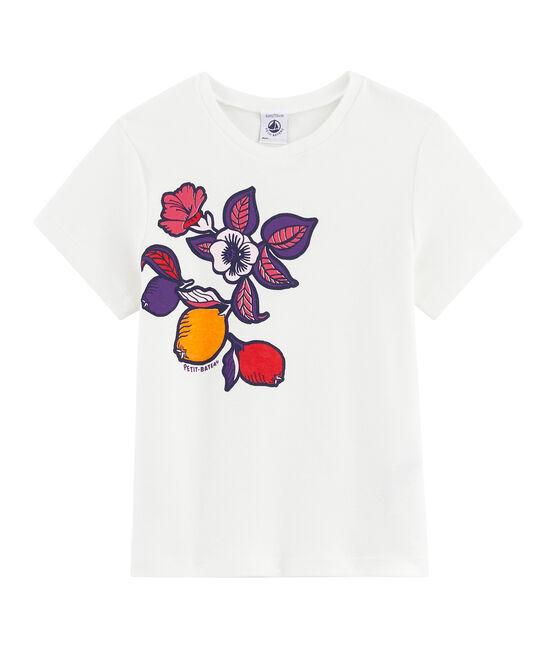 Girls' Short-sleeved T-shirt Marshmallow white / Geisha pink