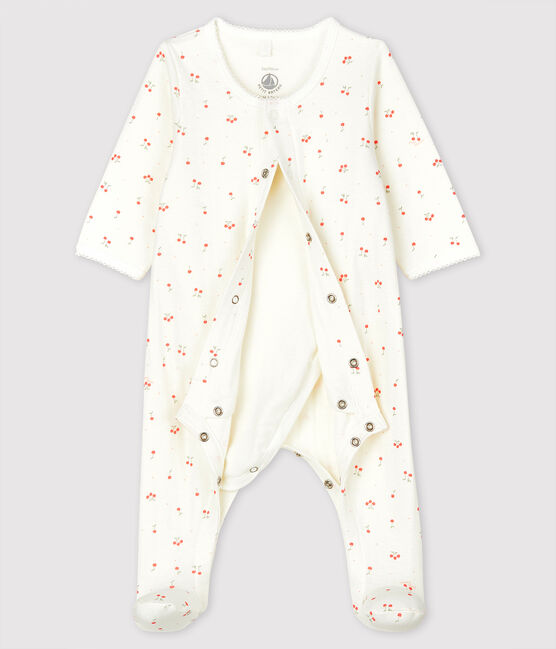Babies' Cherry Pattern Organic Cotton Tube Knit Bodyjama Marshmallow white / Multico white