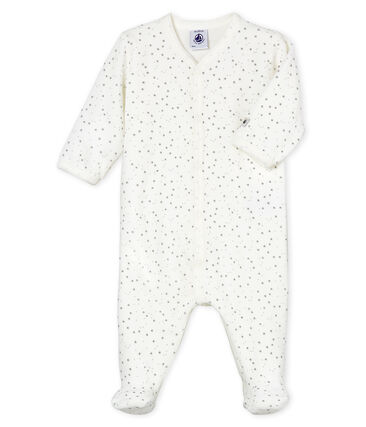 Babies' Unisex Velour Sleepsuit Marshmallow white / Concrete grey