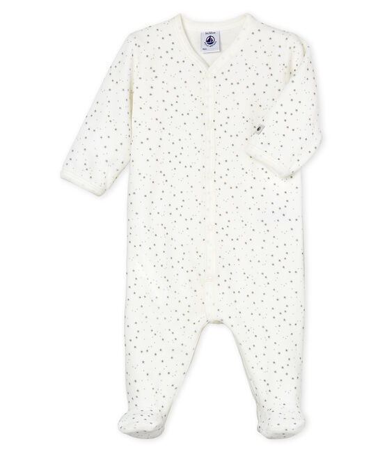 Babies' Unisex Velour Sleepsuit Marshmallow white / Concrete grey