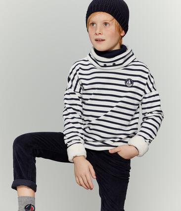 Boy's Sweatshirt Marshmallow white / Smoking blue