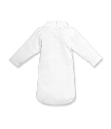 Unisex baby long-sleeved rollneck bodysuit in brushed cotton Ecume white