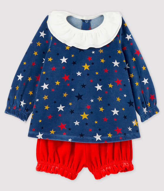 Baby girl's 2-piece set Medieval blue / Multico white