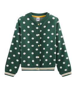 Girls' Print Cardigan Sousbois green / Marshmallow white
