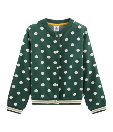 Girls' Print Cardigan Sousbois green / Marshmallow white