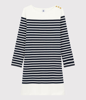 Women's Breton Striped Dress Smoking blue / Marshmallow white