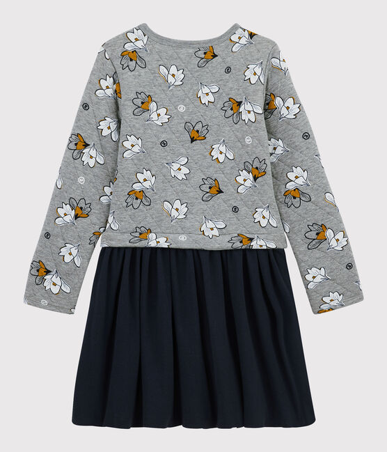 Girl's Long-sleeved Dress Subway grey / Multico white